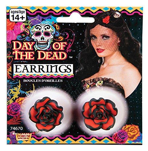 Bristol Novelty 74670 Boucles d'oreilles Rose Jour des morts Taille unique