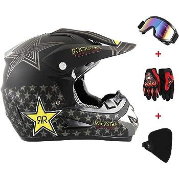 D GreenRibbon 4pcs Cascos de Motocros Casco de Cross Adulto Fantastic FS945 con Gafas Protectoras Guantes Mask