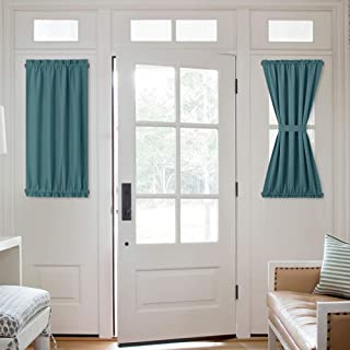 NICETOWN Blackout Sidelight Window Curtain - Room Darkening Thermal Insulated Small Half Door Window Treatment Curtain Panel for Front Door/Kitchen, 25W by 40L inches, Sea Teal, 1 Panel