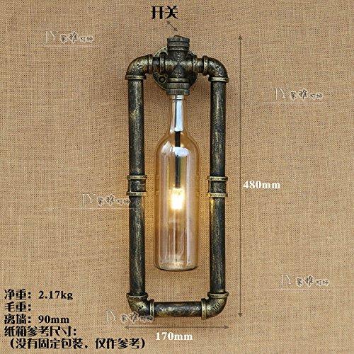 YU-K Retro creatieve restaurant Light Bar Cafe roestkleurige industriële Air ijzeren buizen voor de sake flessen wandlampen, geel