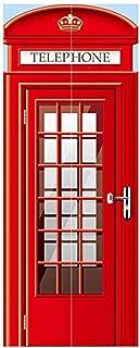 Modern Art 3D Door Sticker Peel and Stick Removable Vinyl Door Decal for Home Decor 30 3 x78 7 (77x200cm) 2 Pieces Set@Phonebooth