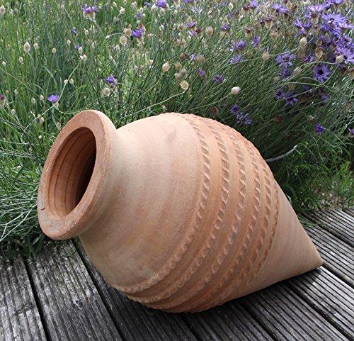 Kreta-Keramik handgefertigte, liegende Terracotta Pflanzamphore/Spitzamphore | frostfest | 60 cm | mediterrane Deko Garten Teich Terrasse, Vitex2