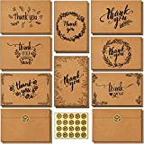 144 Bulk Thank You Cards with Self-Seal Envelopes, Brown Kraft Thank You Notes Box Set with Elegant 8 Designs Greeting Card for Valentine's Day, Business, Wedding, Baby Shower, Blank Inside, 4x6 Inch