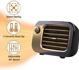 ZP-Heater Mini Calefactor Cerámico 500W Calentador de Espacio Eléctrico Portátil Personal para Cuarto/Baño/Oficina, Oscilación Automática, 3 Modos de contra Viento, 2 Protección de Seguridad