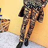 DESTRB Male Casual Pants Singer Stage Wear Mens Fashion Yellow Letter Floral Print Suit Trousers Hip Hop Nightclub Stage Singer DJ (Color : Letter Trousers, Size : Large)