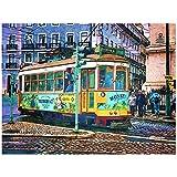 Acuarela Lisboa City Street Bus Tranvía Arte Impresión en lienzo Pintura Graffiti Imagen de pared Sala de estar Decoración del hogar Póster -60x80cm Sin marco