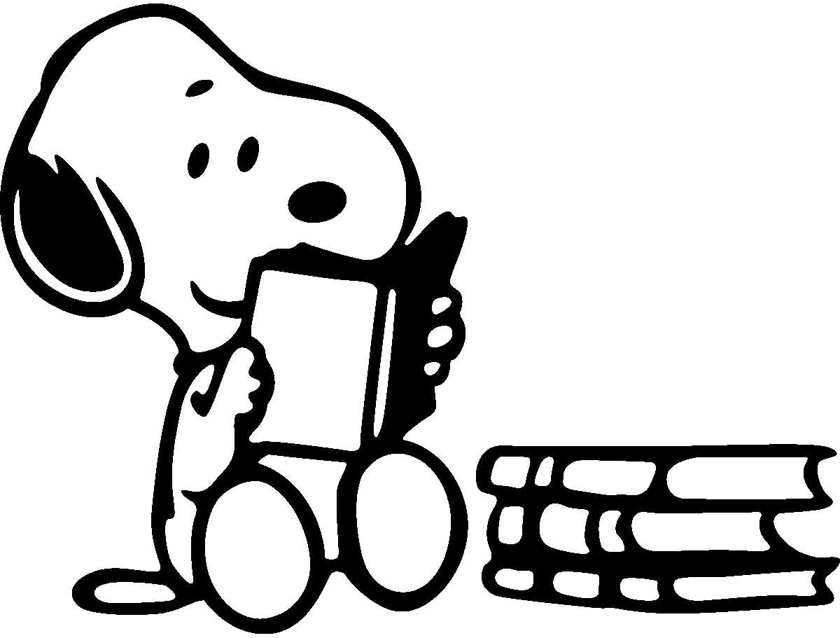 So Cool Stuff Snoopy Reading Books Reading is Fun - Vinyl 5 Inches (Color: Black) Decal Laptop Tablet Skateboard Car Windows Sticker