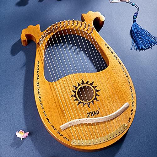 SXMY Arpa De Lira 19 Cuerdas Caoba Arpa Pequeña Portátil Instrumento Portátil de 16 Cuerdas para Principiantes para Amantes De La Música Principiantes Niños Adultos,009,16 Strings