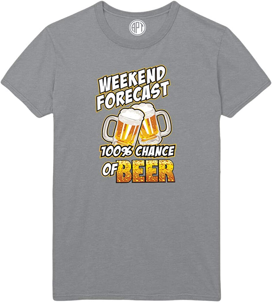 Weekend Forecast 100% Chance of Beer Printed T-Shirt
