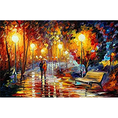 Wooden Jigsaw Puzzles 1000 Pieces for Adults Colorful Games Paintings Night Rain Large Format