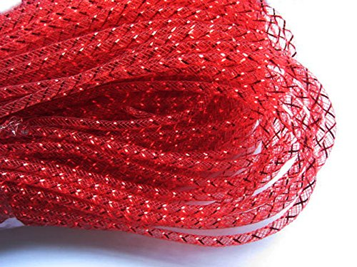 YYCRAF 25 Yards Solid Mesh Tube Deco Flex for Wreaths Cyberlox CRIN Crafts 4mm (All Red)