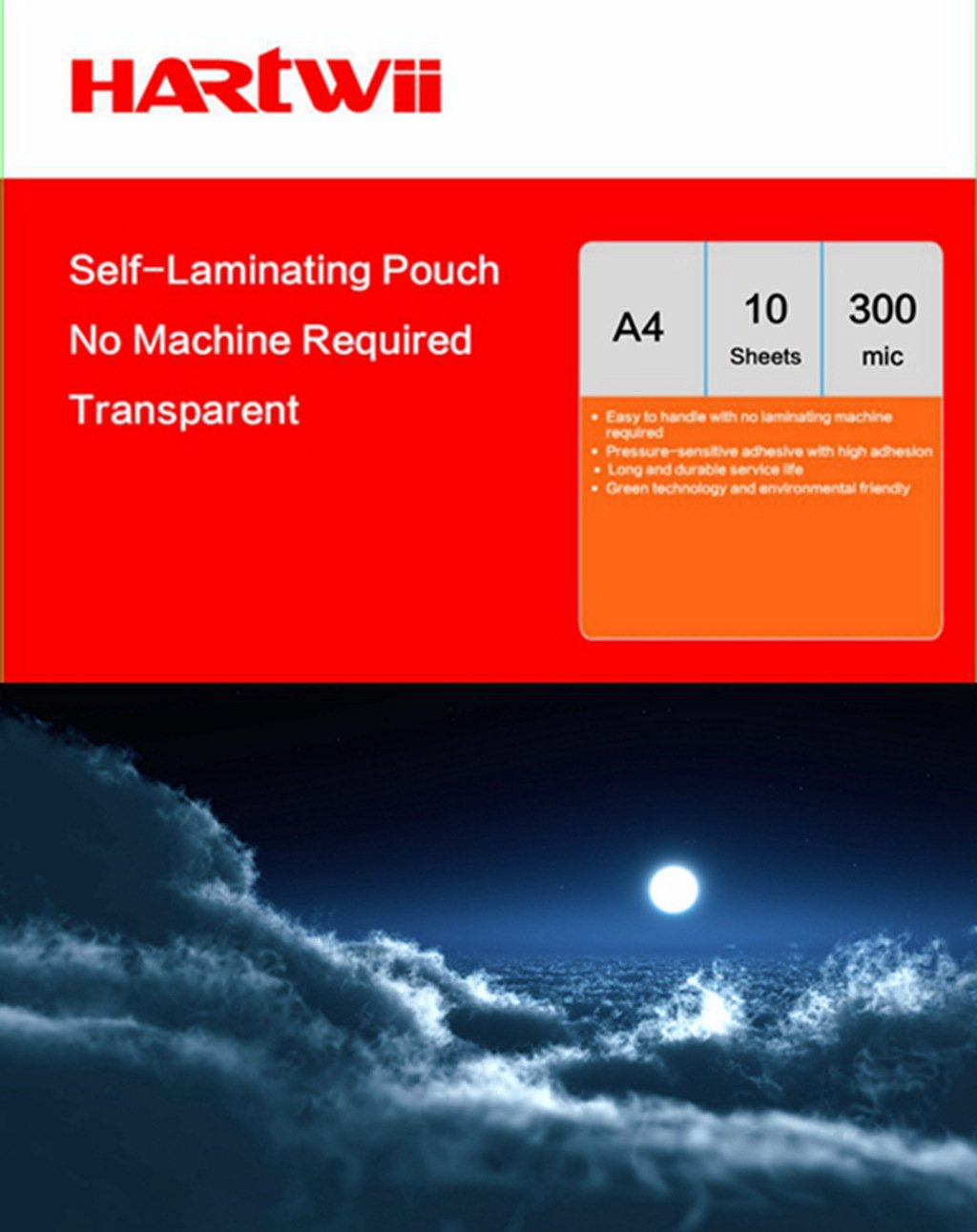 Hartwii Cold Instand 10 Sheets A4 Size (225x307mm) Seal Self Adhesive Laminating Pouch