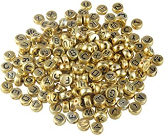 HEALLILY 500PCS Round Letter Beads Gold Alphabet Beads Alphabet Spacer Beads for Jewelry Making Bracelets Necklaces