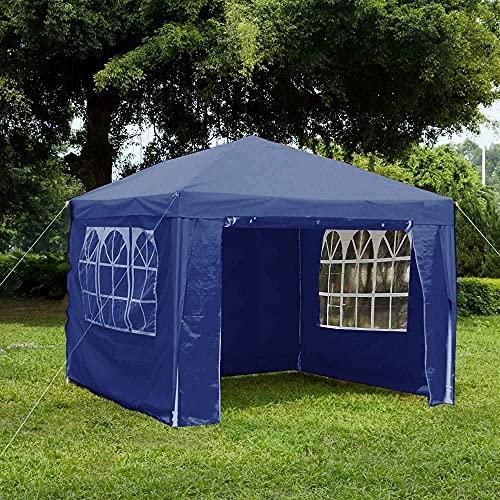 Giardino Vida Gazebo con pannelli laterali, con cerniera, tenda per feste all'aperto e giardino, baldacchino impermeabile con barra antivento, Blu, 3 x 4 m