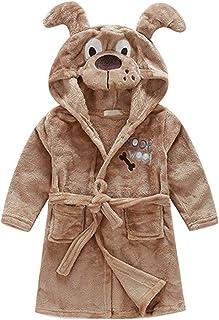 Little Boys Girls Bathrobes,Toddler Kids Cartoon Hooded Plush Robe,Animal Pajamas..