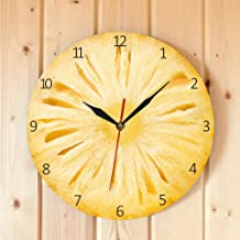 Wangxiaojie 30X30Cm Pineapple Fruit Slice Contemporary Wall Clock Pineapple Printed Wall Clock Minimalist Wall Art Ananas Kitchen Décor