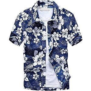 (ワイ-ミー)Y-ME 夏 半袖シャツ アロハシャツ ビーチシャツ おしゃれ 通気性 blue color L