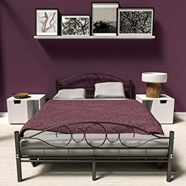 BJYX Lit en métal Double 2 Places Cadre de lit + sommier à Lattes 140x200 cm Noir