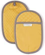 KitchenAid Asteroid Cotton Pot Holders with Silicone Grip, Set of 2, Buttercup 2 Count