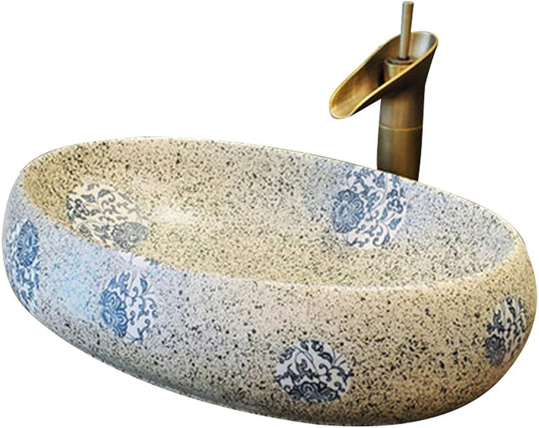 HHH Badezimmer Kompaktes Keramikbecken, Ovales Aufsatzbecken , 60X40X15 cm (Wasserhahn Nicht Im Lieferumfang Enthalten) Waschbecken im Badezimmer