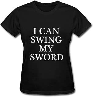 zhenshan Women's Black Short Sleeve T-Shirt I CAN Swing My Sword