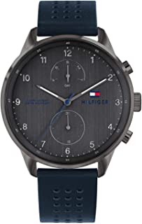 Tommy Hilfiger Men's Grey Dial Leather Band Watch - 1791578
