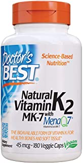 Doctor's Best Natural Vitamin K2 Mk-7 with Menaq7, Strengthen Bones, Non-GMO, Vegan, Gluten Free, Soy Free, 45 Mcg, 180 Ve...