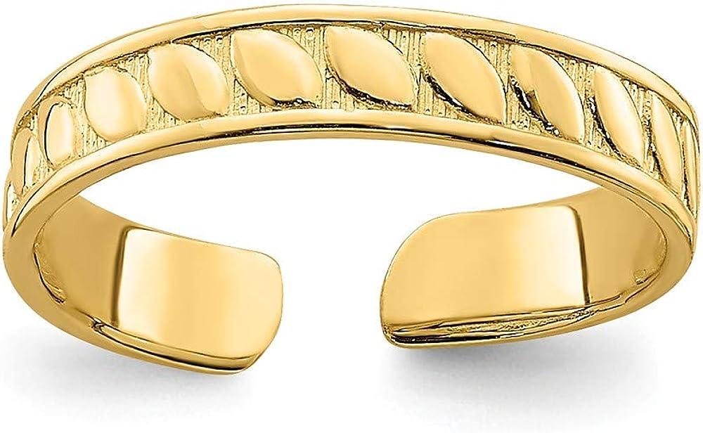 Solid 14k Yellow Gold Adjustable Leaf Engraved Design Toe Ring Adjustable