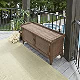 Home Styles Montego Bay Barnside Brown Outdoor Solid Wood Storage Bench with Shorea Wood,...