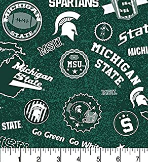 Michigan State Cotton Fabric Home State Design-Newest Pattern-Sold by The Yard-SYKEL NCAA Cotton Fabric