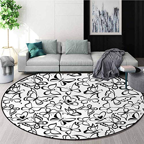 Amazing Deal Animal Modern Machine Washable Round Bath Mat,Butterfly Pattern Spiritual Freedom Sign ...