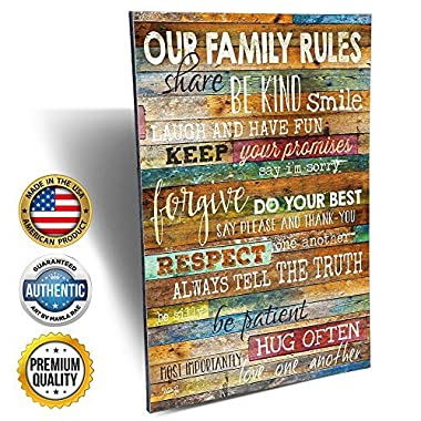 Marla Rae 12-Inch-by-18-Inch Country Wood Our Family Rules Wall Art Sign Decor, Brown