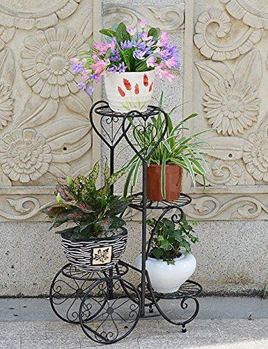 LHP huajia Fer Fleur Rack Multilayer Fleur Rack Balcon Salon Fleur Intérieur Pot de Fleurs en Rack Noir et Blanc (Couleur : Noir, Taille : L*W*H: 53 * 26 * 80cm)