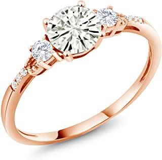 10K Rose Gold Solitaire w/Accent Stones Ring Forever Classic Round 0.80ct (DEW) Created Moissanite by Charles & Colvard and Created Sapphire