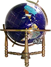 Unique Art 19-Inch Tall Blue Lapis Ocean Table Top Gemstone World Globe with Copper Stand