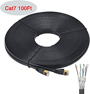 Cat7 Ethernet Cable Flat 100 FT - Ealona 32 AWG Shielded (SSTP) with Snagless Rj45 Connectors Gigabit Bare Copper LAN Cable for Modem Router PS4 100FT Black
