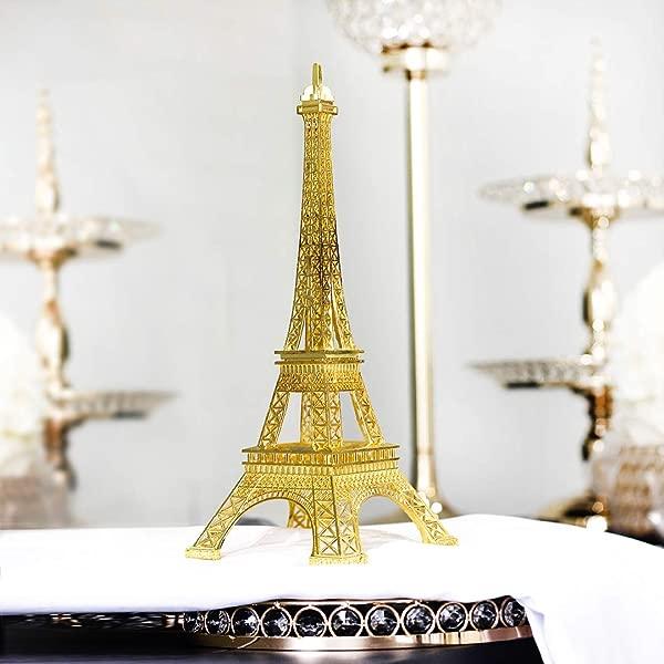 15 Inch 38cm Gold Metal Eiffel Tower Statue Figurine Replica Centerpiece