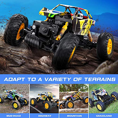 DOUBLE E RC Cars Rechargeable Remote Control Car with 2 Batteries 4WD Off Road Monster Truck Rock Crawler Toys for Boys Girls on All Age