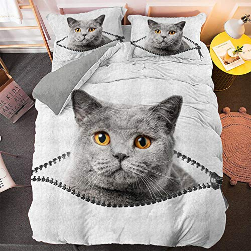 NNDHYS Pet Cats Printed 3d Bedding Set Animals Home Decor Queen King Twin Size Polyester Bedclothes Soft Duvet Cover Pillowcase BS1322 220x260cm