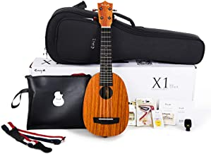 Enya Pineapple Soprano Ukulele 21 Inch Beginner Kit, HPL and Mahogany Neck – With Bundle Includes Online Lessons, Case, Strap, Strings, Capo, Sand Shaker, Picks, Polish Cloth (EUP-X1)