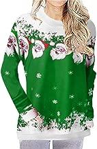 YiYLunneo Christmas Women Snowman Tree Snowflakes Vintage Print Tops Sweatshirt Pullover Blouse