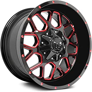 Western Corral Custom Wheel Gloss - Black with Red Milled Spokes and Rivets Rims - 22