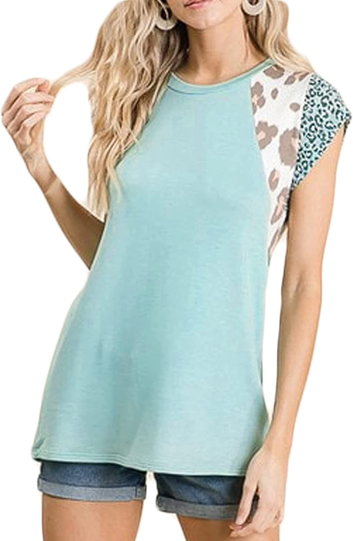 Kate Kasin Women Leopard T Shirts Pink Tops Summer Casual Short Sleeve Tee