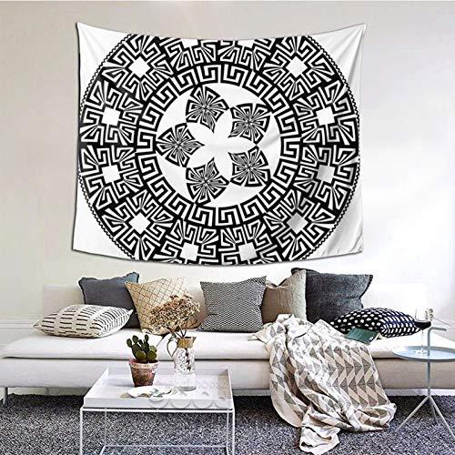 ZVEZVI Mandala Redonda Tapiz de círculo Negro, Arte de Pared para Sala de Estar, Dormitorio, Dormitorio, decoración 60ʺ × 51