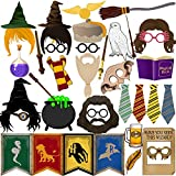 BizoeRade Magical Wizard Party Photo Booth Props, 39pcs Magic Wizard School Party Decorations and Supplies, Suitable for Wizard Castle Party