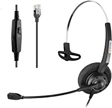 Arama Office Phones Headset w/Lightweight Secure-Fit Headband, Pro Noise Canceling Mic and in-line Controls for Polycom Mitel Plantronic Nortel Shoretel Aastra Avaya Lucent Landline Phones (A200S)