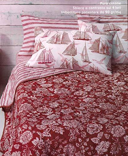 Zucchi Gesteppte Tagesdecke für Doppelbett, Doubleface, Floralrot, Blumenmuster + Streifen