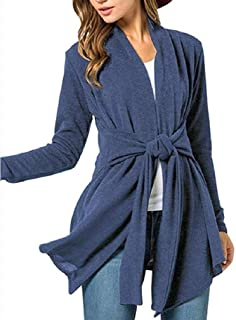 neveraway Womens Cardigan Long Sleeve Lace Up Detail Open Front Cardigan