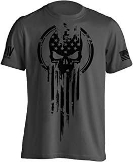 Dion Wear American Warrior Flag Skull Military T-Shirt