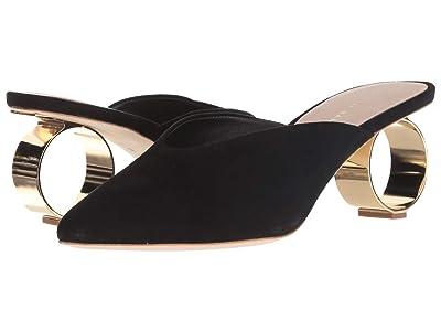 Loeffler Randall Juno Kitten Heel Mule (Black Suede/Gold Metallic) Women